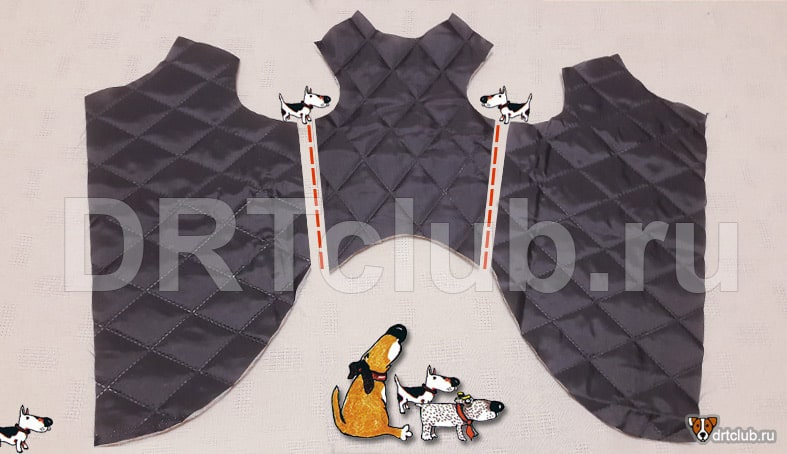 Сшиваем по бокам детали подкладки жилета