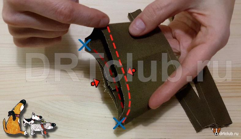 Прострачиваем срезы верхней части намордника