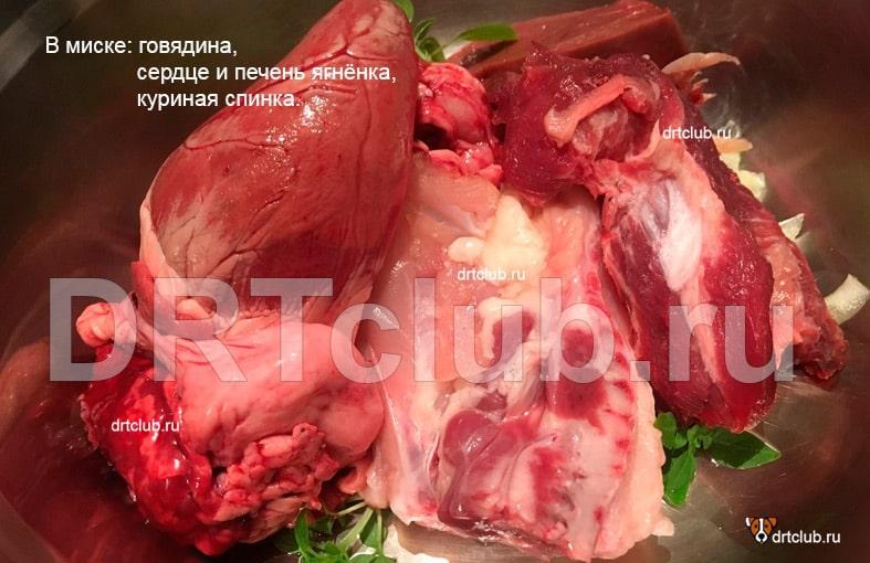 Пример блюда для собаки, приготовленного по RAW