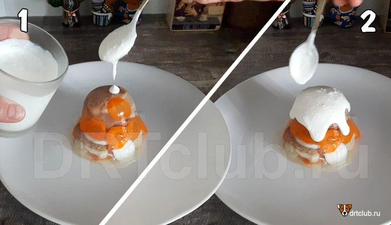 Заливаем торт творожным кремом