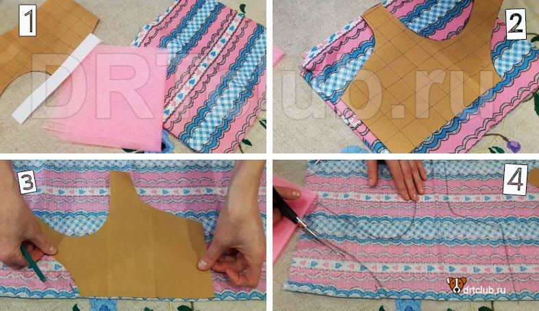 Переносим выкройку платья на основную ткань